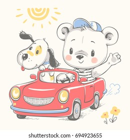 Cute bear and a dog driving the car cartoon hand drawn vector illustration. Can be used for t-shirt print, kids wear fashion design, baby shower invitation card.