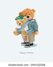 cute bear doll father and son in front carrier vector illustration