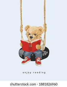 cute bear doll reading a book on tire swing illustration