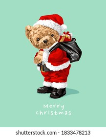 cute bear doll in Santa Claus costume illustration
