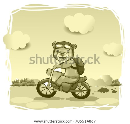 Cute Bear Drive Motorcycle Vintage Background Stock Vector Royalty