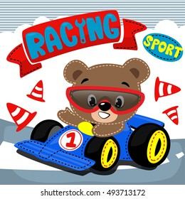 Cute bear driving a blue racing car on street. Vector print for children wear.