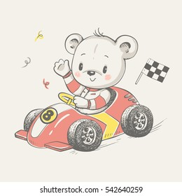 Cute bear driving a car cartoon hand drawn vector illustration. Can be used for t-shirt print, kids wear fashion design, baby shower invitation card.