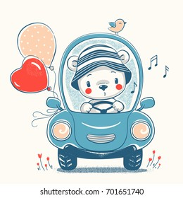 Cute bear driving the car cartoon hand drawn vector illustration. Can be used for t-shirt print, kids wear fashion design, baby shower invitation card.
