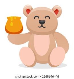 cute bear eating honey cartoon vector