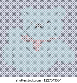 A cute bear embroidered with a cross stitch