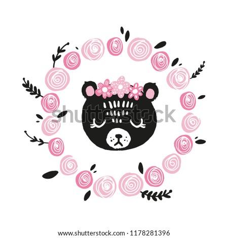 cute bear face scandinavian style illustration stock vector royalty