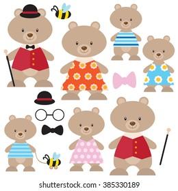Cute bear family vector illustration