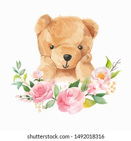 cute bear and flower wreath watercolor style illustration