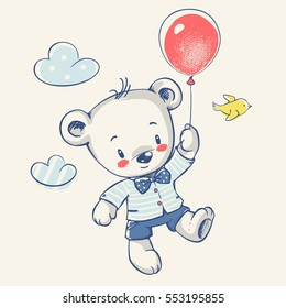 Cute bear flying on a balloon cartoon hand drawn vector illustration. Can be used for t-shirt print, kids wear fashion design, baby shower invitation card.