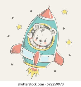 Cute bear flying in a rocket cartoon hand drawn vector illustration. Can be used for t-shirt print, kids wear fashion design, baby shower invitation card.