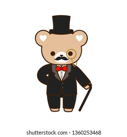 Cute bear in gentleman black suit and hat.