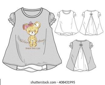cute bear, girl tshirt design, kids fashion vector illustration