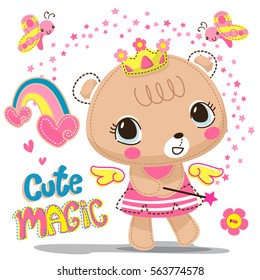 Cute bear girl wearing flower crown with a magic wand stars isolate on white background illustration vector.