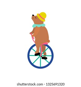 136f4733 Cute Bear in Hat Riding Unicycle, Funny Animal Performing in Circus Show  Vector Illustration