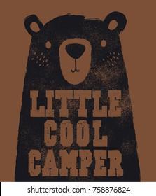 cute bear head illustration as vector for baby tee print