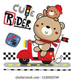 Cute bear and his brother on red scooter isolated on white background illustration vector.