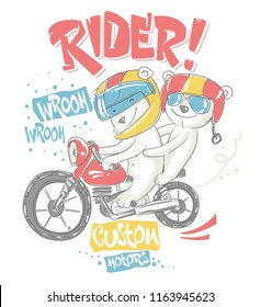 Cute bear and his brother on motorcycle vector T-Shirt design