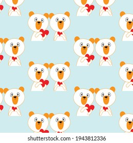 cute bear holding red heart  together ,abstract love concept  cartoon pattern  background   vector eps.10