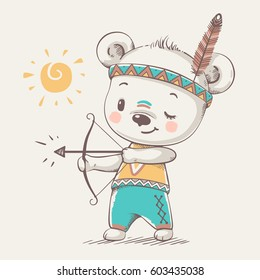 Cute bear Indian with a bow and arrow cartoon hand drawn vector illustration. Can be used for t-shirt print, kids wear fashion design, baby shower invitation card.