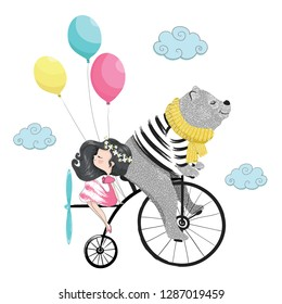 Cute bear and little girl in clouds on bicycle vector illustration for kids artworks, children books, T shirt prints.