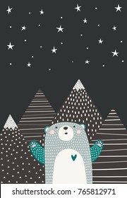 Cute bear looks at the starry sky. Vector illustration in Scandinavian style. Funny, cute poster.