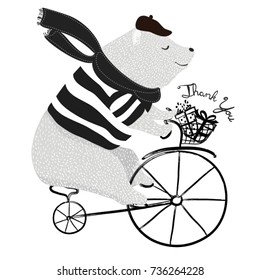 cute bear on bicycle vector design.