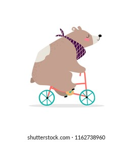 Cute bear on a bike. Vector illustration. Eps 10