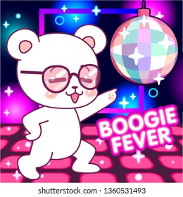 Cute bear on the dance floor, 70s disco fever, boogie