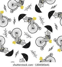 Cute bear on vintage bike pattern design for kids fashion artworks, wallpapers.
