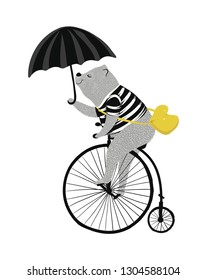 Cute bear on vintage bike illustration for kids fashion art works, children books, birthday cards.