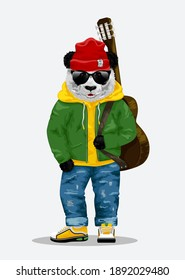 Cute bear panda with guitar, sunglasses and red hat illustration.