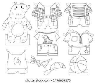 Cute bear paper doll dress up toy. Bear boy with clothes and accessories. Paper doll vector cartoon. Colorless paper doll toy for kid.