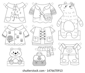 Cute bear paper doll dress up toy. Bear girl with clothes and accessories. Paper doll vector cartoon. Colorless paper doll toy for kid.