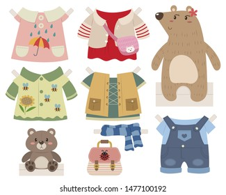 Cute bear paper doll dress up toy. Bear girl with clothes and accessories. Paper doll vector cartoon. Paper doll toy for kid.