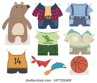 Cute bear paper doll dress up toy. Bear boy with clothes and accessories. Paper doll vector cartoon. Paper doll toy for kid.