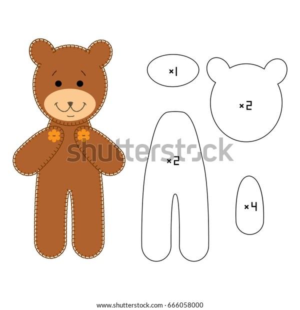 Cute Bear Pattern Felt Applique Patchwork Stock Vector (Royalty Free