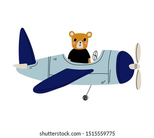 Cute Bear Pilot Flying on Retro Plane in the Sky, Humanized Animal Character Piloting Airplane Vector Illustration