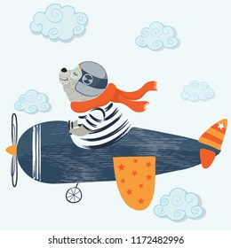 Cute bear with plane, vector design.T-shirt graphic illustration for kids.Invitations, greeting cards, birthday celebrations and postcards for special occasions.Animal print.