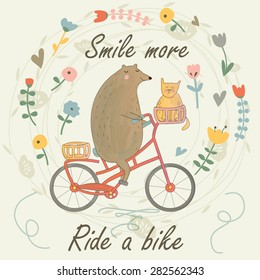 Cute bear riding a bike with a cat and flowers in cartoon style. Summer background. Smile more, ride a bike printable.