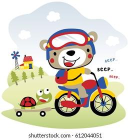 cute bear riding motorcycle, kids t shirt design, wallpaper, vector cartoon illustration