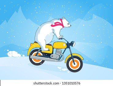 Cute bear riding a motorcycle in the snow. New Year concept. Cartoon animal illustration with blue background. Traveling vector design. Can be used for print, web design, invitation cards, postcards.