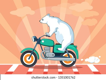Cute bear riding a motorcycle.Road concept.Cartoon animal illustration with orange background.Traveling vector design.Can be used for t-shirt print, kids wear, web design, invitation cards, postcard