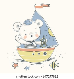 Cute bear sailor on a boat cartoon hand drawn vector illustration. Can be used for t-shirt print, kids wear fashion design, baby shower invitation card.