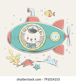 Cute bear sailor on a submarine cartoon hand drawn vector illustration. Can be used for t-shirt print, kids wear fashion design, baby shower invitation card.