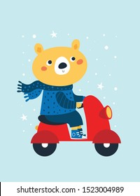Cute bear in scarf and sweater ride motorbike. Festive vertical greeting card. Colorful illustration for postcard, poster, decoration, print, textile in scandinavian cartoon flat style