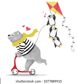 Cute bear scooter  and funny penguins.Vector design.animal illustration.T shirt graphic.