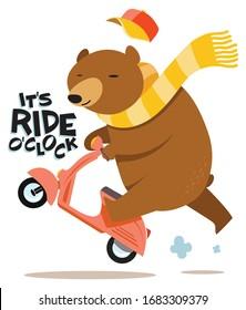 Cute bear scooter vector design animal illustration