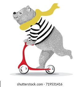 Cute bear scooter vector design.animal illustration.T shirt graphic.