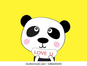 "cute bear  with sign and  quote "" Love you"" abstract card  emotion and feeling  concept  background  for design vector cartoon  eps.10"